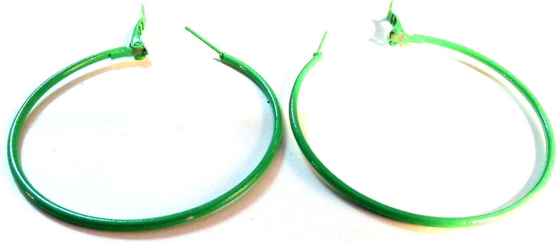 Green Hoop Earrings 2 inch Hoop Simple Thin Hoop Earrings