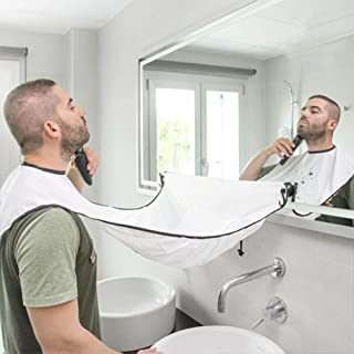 Beard Apron Cape Beard Trimming Bib for Men Shaving & Hair Catcher, Non-Stick Hair Catcher Grooming Cloth, Waterproof, with 4 Suction Cups for Mirror - White …