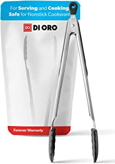 DI ORO® kökstång 30,5 cm - rostfritt stål med icke-stickande 250°C värmebeständiga BPA-fria silikonspetsar - bra verktyg f...