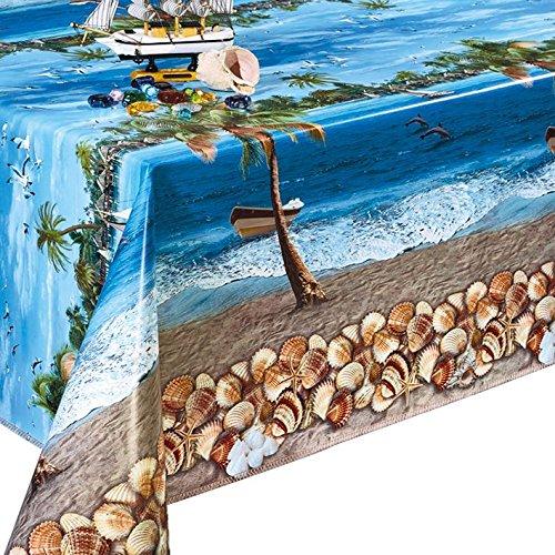 Skippys Sea Side Palm Tree Shells Blue Wipe Clean Tablecloth Easy Clean Oilcloth Vinyl Pvc Blue Tablecloth 100x140 cm Price Per Metre Fabric