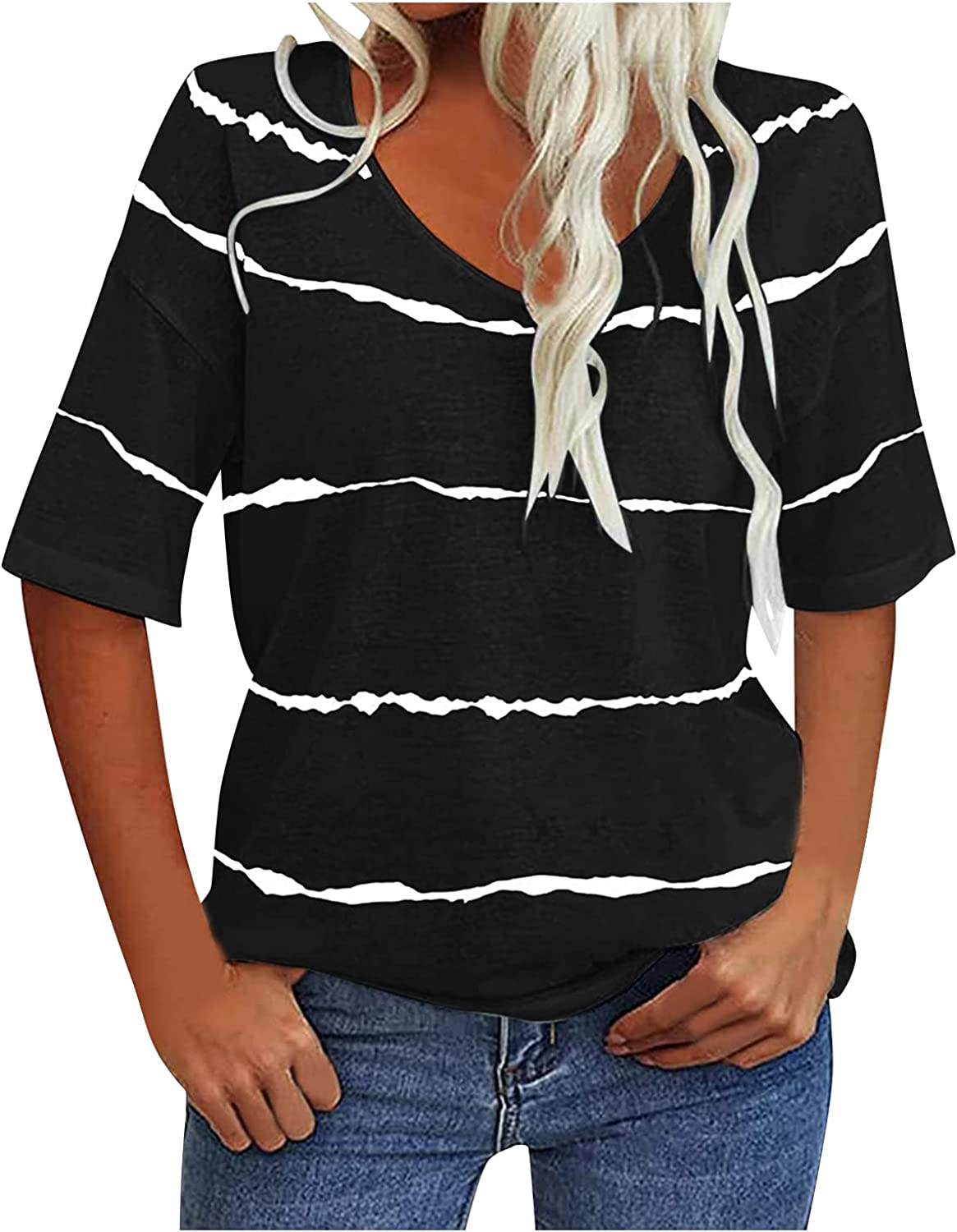 Women's Color Block Cap Sleeve T Shirts Summer Casual Tee Tops Loose Blouse