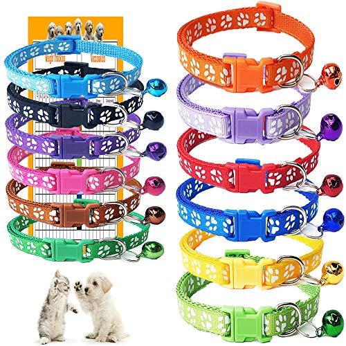 GAMUDA Puppy Collars - Super Soft Nylon Whelping Puppy Collars - Adjustable Litter Collars for Pups - Assorted Colors Reflective Plain & Identification Collars - Set of 12 (Footprint)