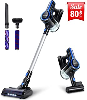 Cordless Vacuum, Vacuubo Stick Vacuum Cleaner with Max 18KPa Suction and LED Headlights Brush, Powerful Dust and Pet Hair Cleaning, Lightweight 4-in-1 Handheld Vacuum for Carpet and Hard Floor
