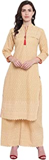 VOOM Beige Full Embroidered Straight Fit Women Kurta and Flared Palazzo Set