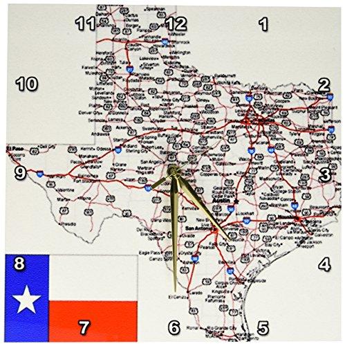 3dRose wandklok, ingelijst, motief: Texas met State vlag, aluminium, meerkleurig, 33 x 33 cm