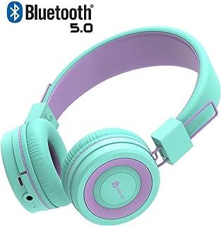 iClever Kids Headphones, Kids Bluetooth Headphones with MIC, 22H Playtime, Bluetooth 5.0 & Stereo Sound, Foldable, Adjustable Headband, Childrens Headphones for iPad Tablet Home School, Green/Purple