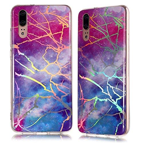 Vectady für Huawei P20 Pro [NO für P20] Hülle, Schutzhülle Case Cover für Huawei P20 Pro Handyhüllen Silikon TPU Marmor Muster Bling Glitzer Slim Dünn Silikonhülle für Huawei P20 Pro,Blau