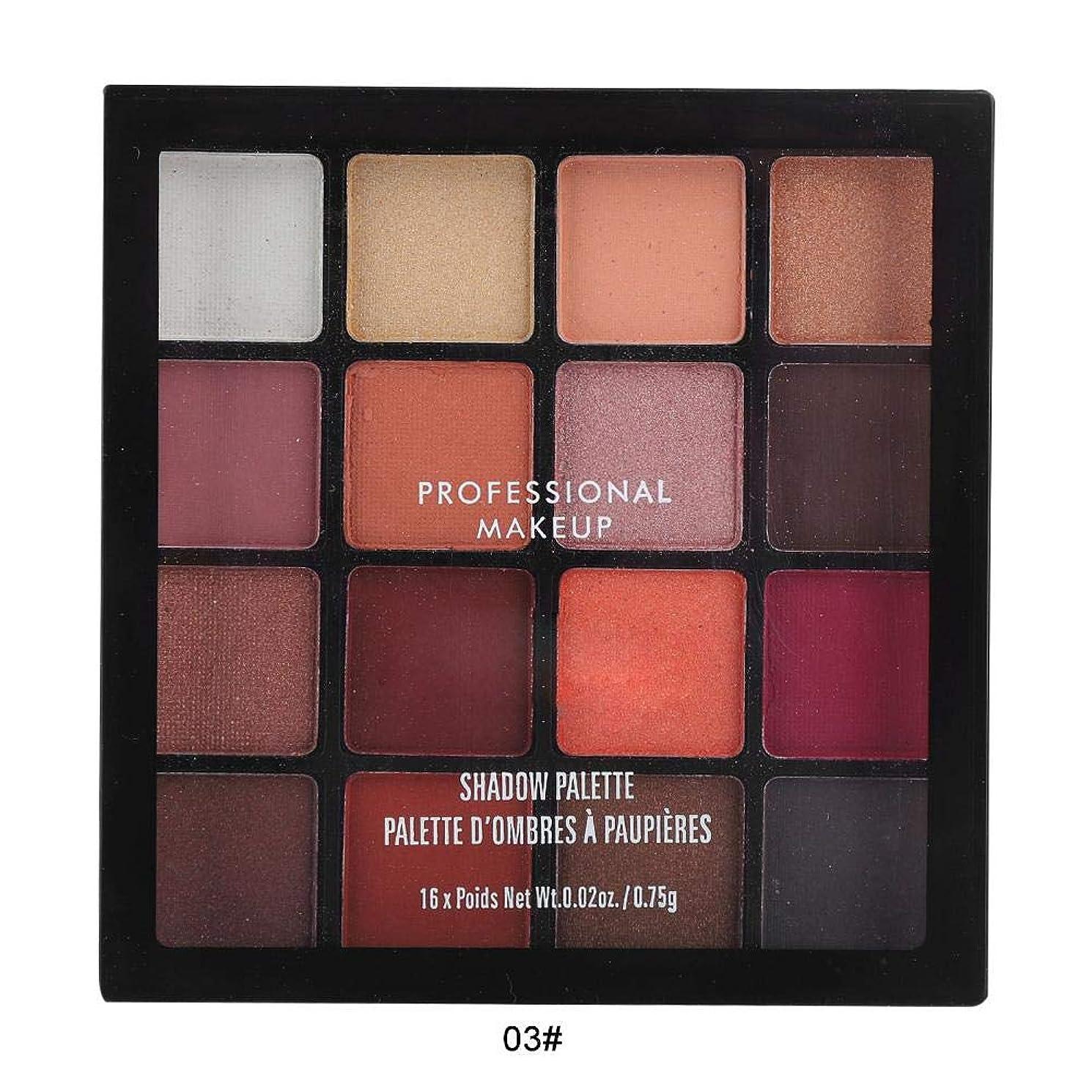 弱まる平等視力16色アイシャドウパレット、アイシャドウパレット化粧マットグロスアイシャドウパウダー化粧品ツール (03)