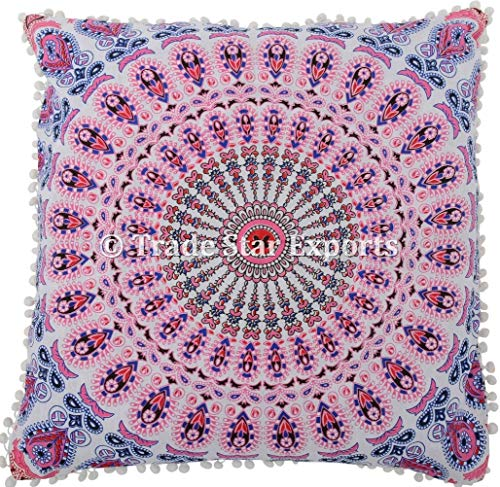 Trade Star Exports 26 x 26 Euro Pillow Sham Decorative Mandala Cushion Cover, Large Meditation Pillow, Ethnic Cotton Cushion (Pattern1)