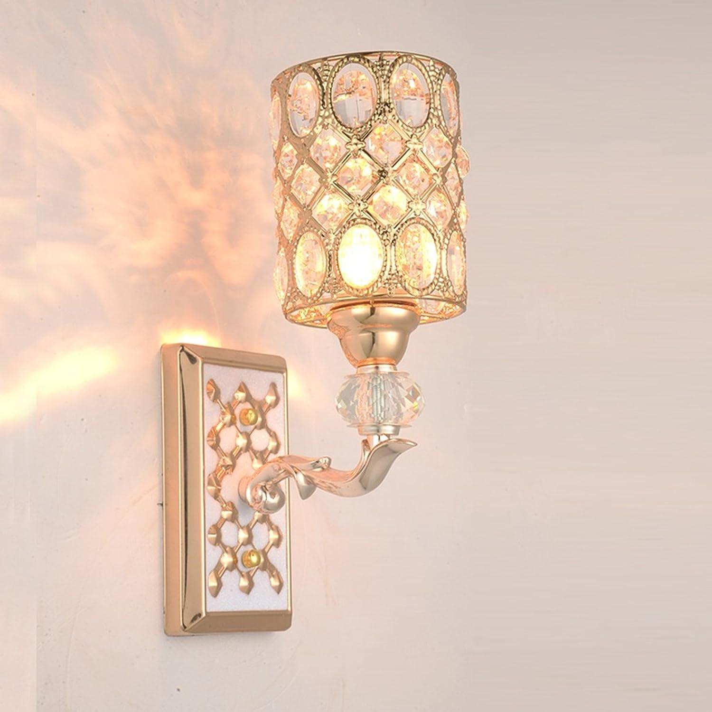 Unbekannt SKC Lighting-Wandlampe Europischen Stil Nachttisch Wohnzimmer Korridor Eingang Hotel dimmbare Kristall Wandleuchte (gre   Einzelkopf)