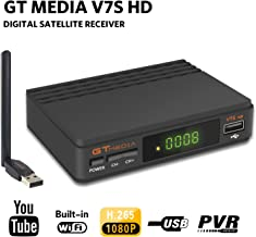 FTA Satellite Receiver DVB-S2 TV Digital Sat Decoder Full HD 1080p with USB WiFi Antenna for Network Sharing Support USB PVR Ready, CCcam, Newcam, YouTube, PowerVu, Dre & Biss Key by Aoxun