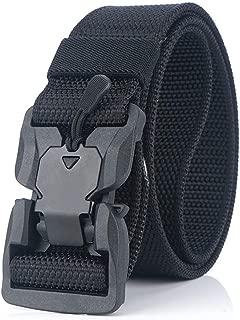 Quick Release Belt, Mens Nylon Canvas Belt AdjustableWaist Belt for Hunting Training Running (Color : Black, Size : 125cm)