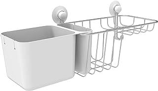 Grand panier de douche en acier inoxydable et ABS - 3 compartiments de rangement / 1 porte-savon / 1 crochet / 2 ventouses...