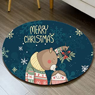 Cartoon Round Carpet Christmas Decorations for Home Doormat Kitchen Mat Hall Rug Baby Playmat