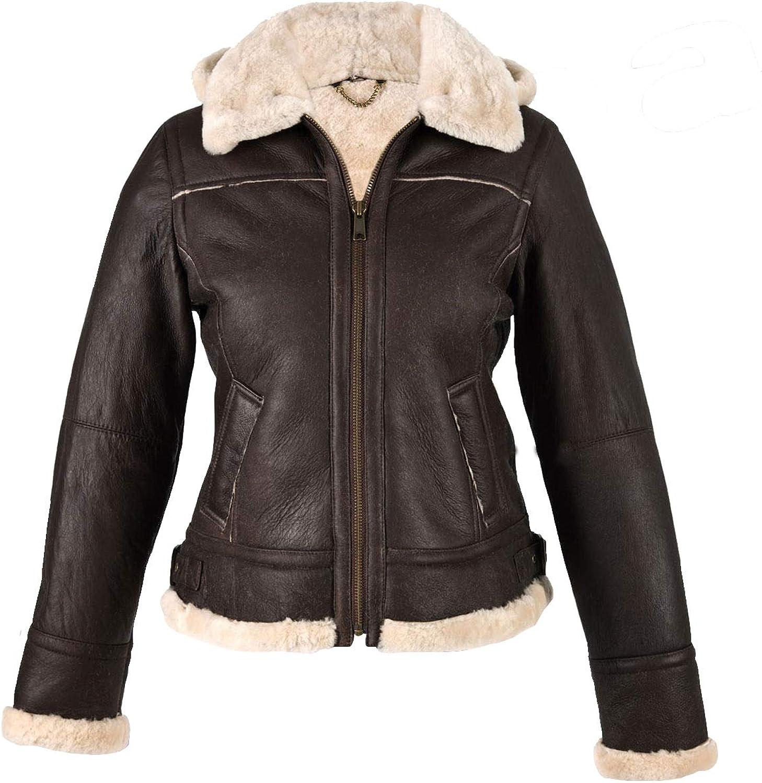 Erha Accessories Ladies Flying Aviator Women Detachable Hooded Faux Fur Brown Genuine Sheepskin Leather