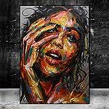 wZUN Acuarela Abstracta Graffiti Retrato de niña decoración del hogar Carteles de Pintura al óleo sobre Lienzo e Impresiones Cuadros de Arte de Pared de Sala de Estar 50X75CM