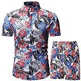 TOUXI Camisa de manga corta hawaiana para hombre con diseño floral y traje corto, ajuste entallado, para verano, playa, vacaciones, fiesta, palmera y traje corto, blanco, 3XL
