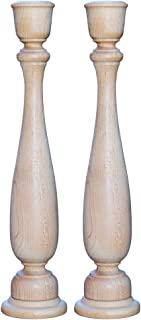 11 Inch Unfinished Candlesticks Holders, Pack of 2 Unfinished Wood Classic Craft Candlesticks Smoothed and Ready to Easily Paint or Decorate, DIY The Way It Inspires You by Woodpeckers