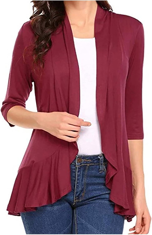 Sweatshirt for Women,3/4 Sleeve Cardigan Open Front Draped Ruffles Soft Knit Sweaters Autumn Lightweight Coat