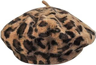 Women French Style Vintage Leopard Print Wool Soft Winter Warm Beret Beanie Hat