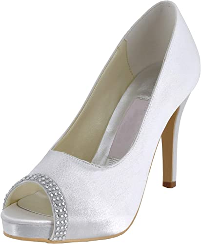 Qiusa MZ618 MZ618 Femmes Peep Toe Talon Aiguille GlisseHommest sur Les Chaussures de mariée Mariage Sandales (Couleuré   blanc-10cm Heel, Taille   7 UK)  les ventes chaudes