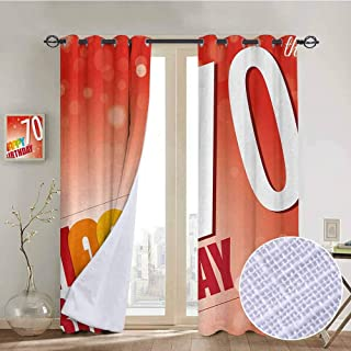 hengshu 70th Birthday Room Darkened Insulation Grommet Curtain Vivid Colored Abstract Backdrop with Happy Birthday Slogan Image Print Living Room W72 x L84 Inch Red and Orange
