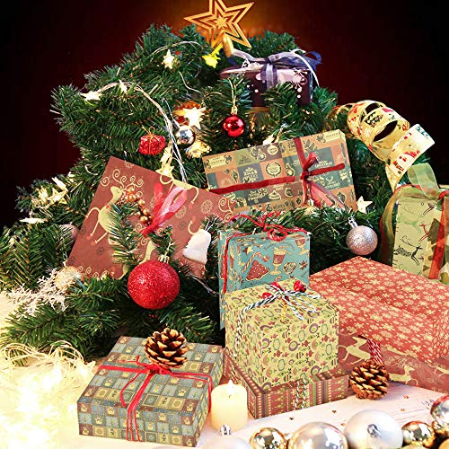 IGRMVIN 10 PCS Papel de Embalaje de Navidad Rollo de Papel de Envolver con Estilo Navideño Papel de Envolver Caja Hojas Envoltura Colorido de Papel Kraft para Cumpleaños Día De Fiesta Navidad
