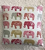 skipton mill shop Summer Print Elephant Pinks 100% Cotton Cushion Cover Pillow Case 43cm UK MADE (multicoloured)