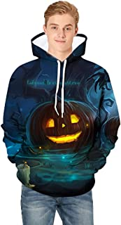 Men Hoodie Pullover Scary Halloween Pumpkin 3D Print Hooded Party Long Sleeve Round Neck Blouse Blue A XL