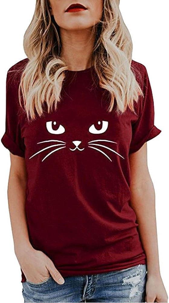 Women's Short Sleeve T-Shirt Casual Cute Cat Print Crewneck Girls Fashion Basic Top Blouse