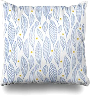 Throw Pillow Covers Sea Blue Fall Leaves Gold Circle Hand Dawn Paint Pattern Summer in Pantone Colors Serenity Rose Quartz Couch Square 18 x 18 Inches Cushion Cases Pillowcases