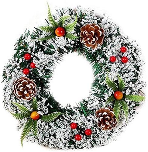 JCXOZ Novità Decorazioni 20/30/40 Cm Farmhouse Road Red Ghirlanda di Natale per porta d'ingresso con palla ornamenti, bacche, pigne e fiori Natale (dimensioni 20 cm)