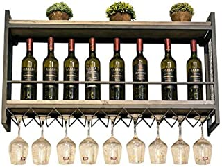 Wine Holder Industrial Wall Mounted Loft Retro Iron Metal Wine Rack Shelf, Wine Bottle | Glass Rack Holder 18 Wine Glass S...