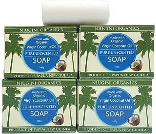 Niugini Organics Virgin Coconut Oil Soap - 4 Pack Pure Soap bars. Multi Award Winner.