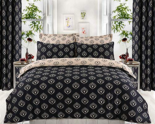 Indus Textiles 100% EGYPTIAN COTTON PATTERNED REVERSIBLE DUVET COVER SETS THREAD COUNT 220 Lantern - King