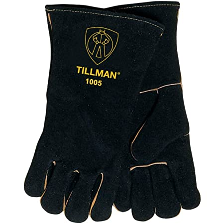 Size L. Tillman 1005 Select Split Cowhide Cotton Lined Welding Gloves Black