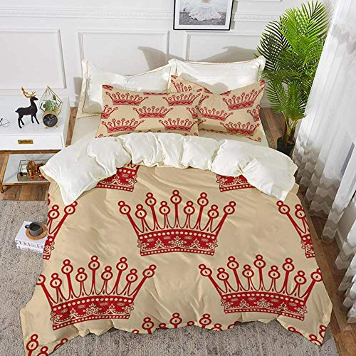 161 Queen,Crowns Pattern in Red Vintage Design Coronation Imperial Kingdom Nobility Theme D,Hypoallergenic Microfibre Duvet Cover Set 200 x 200cm with 2 Pillowcase 50 X 80cm