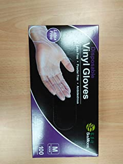 100 Pcs Vinyl Disposable Gloves PVC Gloves Latex Free Powder Free Clear Gloves for Cleaning Cooking Beauty Dishwashing (M)