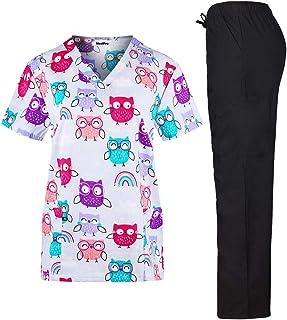 MedPro Women's Printed Medical Scrub Set V-Neck Top and Pants