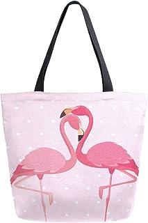 Mnsruu Mnsruu Handtasche/Schultertasche aus Segeltuch, für Damen, mit Griff, Einkaufstasche, Pink Flamingo, Vögel, Paar, gepunktet, lässig, Strand, Multifunktionstasche für Damen