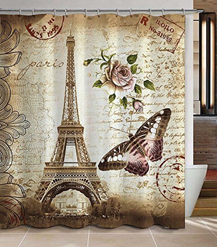 Morning-Sunshine 72 x 72 Inch Paris Eiffel Tower Shower Curtain, Heavy-Duty Waterproof Polyester Fabric Shower Curtains, Butterfly and Flower Pale Brown Bathroom Curtain