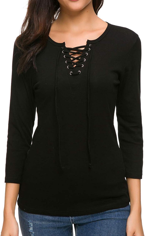 MANAIXUAN Women's 3 4 Sleeve Elegant Top Blouse Tshirt Cross Front Lace up Basic Tee Top