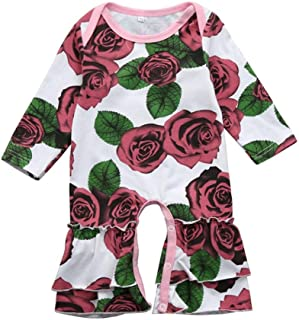 e88d6d7baad FEITONG Infant Baby Toddler Girls Long Sleeve Floral Print Ruffle Romper  Jumpsuit Outfits Clothes
