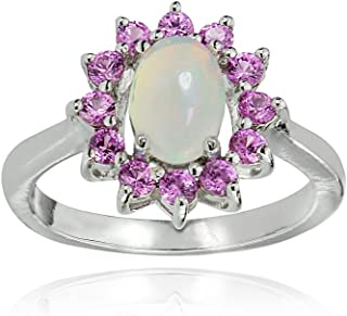 GemStar USA Sterling Silver Ethiopian Opal and Created Pink Sapphire Oval Flower Ring