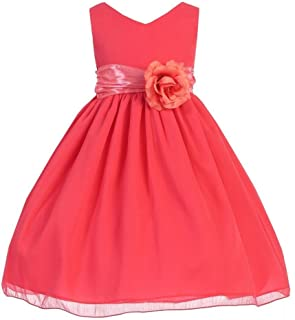 59e72f89a64 Big Girls Coral V-Neck Chiffon Floral Sleeveless Special Occasion Dress 8-12