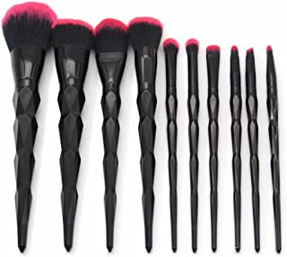MARIAHANAN 10pcs makeup brush set rainbow face & eye Diamond professional make up brush kit tools Black Red