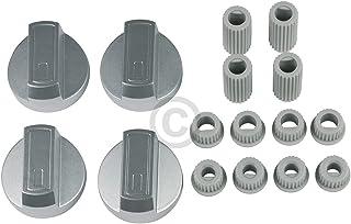 Lot de 4 boutons de rechange universels pour cuisinière - Avec adaptateurs - Diamètre : 38 mm - Argenté - Pour four