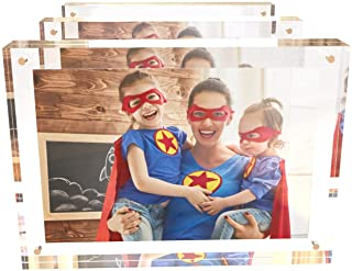 Acrylic Picture Frames 4x6 (3 Pack) 24mm Thick, 4 x 6 Photo Frames, Family Picture Frame Set, Floating Frame for Golden Me...
