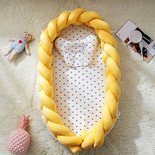 Baby Sleep Nest pod Lits de Voyage Sleep Pod Newborn Portable Lavable et Amovible pour Nouveau-nés et bébés,Jaune