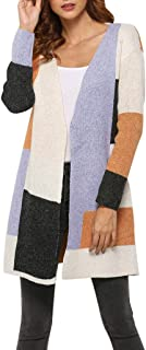 Womens Color Block Draped Kimono Cardigan with Pockets Open Front Casual Duffle Knit Sweaters Coat